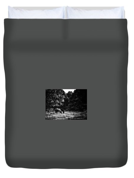 Duvet Cover featuring the photograph Out To Pasture Bw by Mark Fuller
