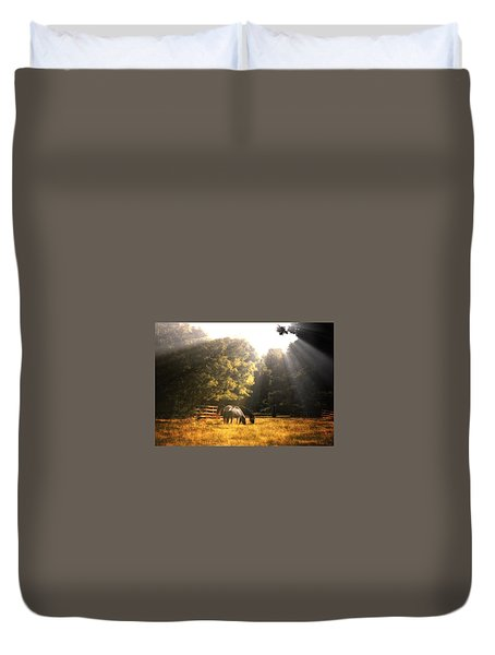 Duvet Cover featuring the photograph Out To Pasture by Mark Fuller