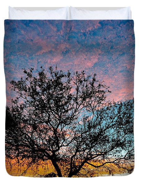 Outback Sunset Pano Duvet Cover