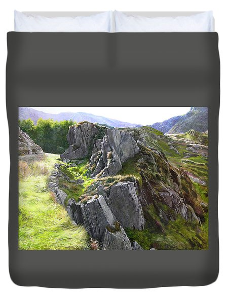 Duvet Cover featuring the painting Outcrop In Snowdonia by Harry Robertson