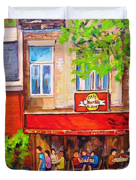 Duvet Cover featuring the painting Outdoor Cafe by Carole Spandau