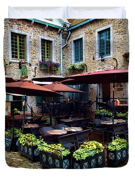 Outdoor French Cafe In Old Quebec City Duvet Cover
