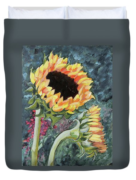 Outdoor Sunflowers Duvet Cover
