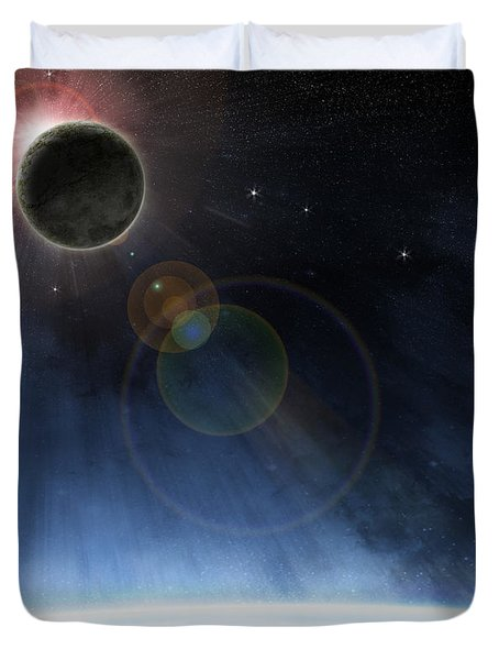 Outer Atmosphere Of Planet Earth Duvet Cover by Phil Perkins