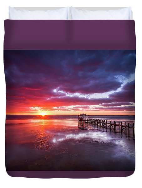 Outer Banks Duck North Carolina Sunset Seascape Photography Obx Duvet Cover
