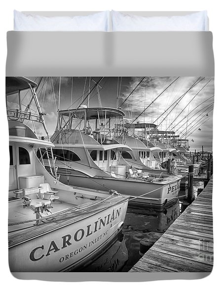 Outer Banks Fishing Boats Waiting Bw Duvet Cover by Dan Carmichael