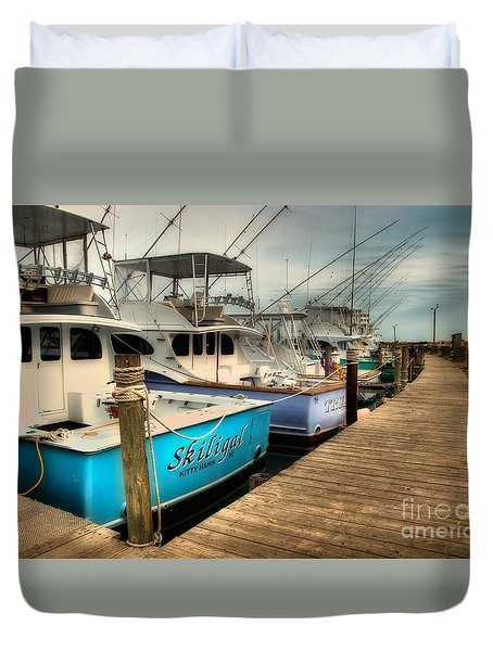Outer Banks Fishing Boats Waiting Duvet Cover by Dan Carmichael