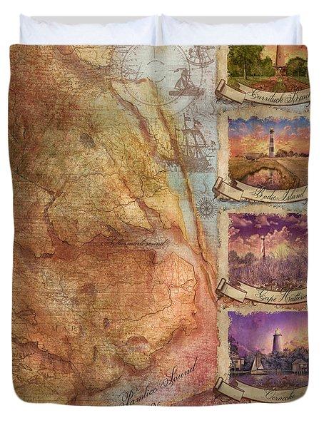 Outer Banks Lighthouse Map 3 Duvet Cover