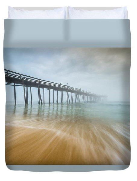 Outer Banks North Carolina Nags Head Obx Nc Beach Pier Seascape Duvet Cover