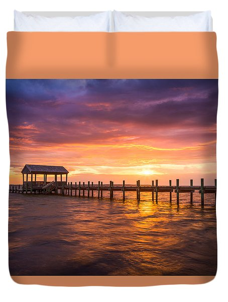Outer Banks North Carolina Nags Head Sunset Nc Scenic Landscape Duvet Cover