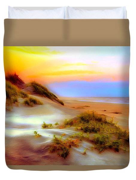 Outer Banks Soft Dune Sunrise Ap Duvet Cover by Dan Carmichael