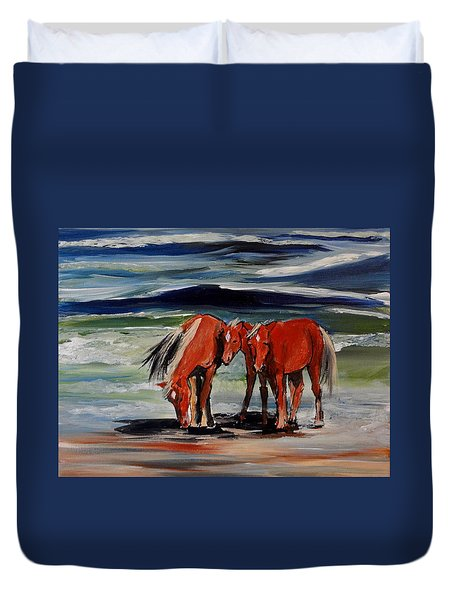 Outer Banks Wild Horses Duvet Cover