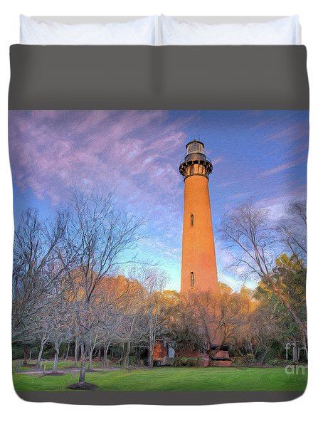 Outer Banks Winter At The Currituck Lighthouse Ap Duvet Cover