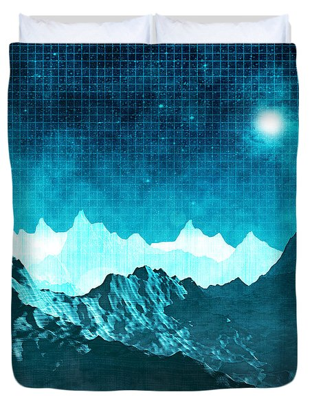 Duvet Cover featuring the digital art Outer Space Mountains by Phil Perkins
