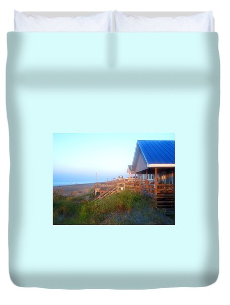 Duvet Cover featuring the photograph Outerbanks Sunrise At The Beach by Sandi OReilly