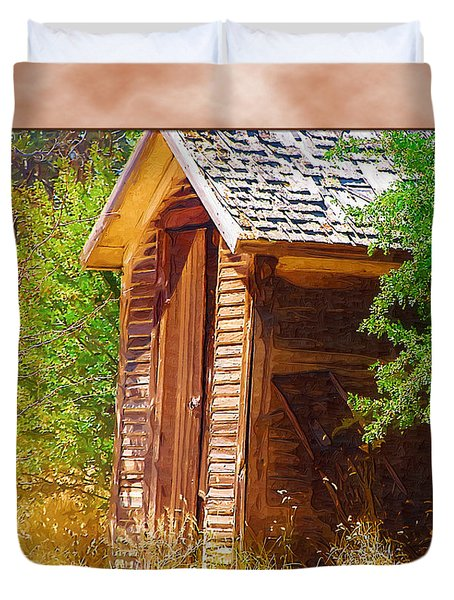 Duvet Cover featuring the photograph Outhouse 1 by Susan Kinney