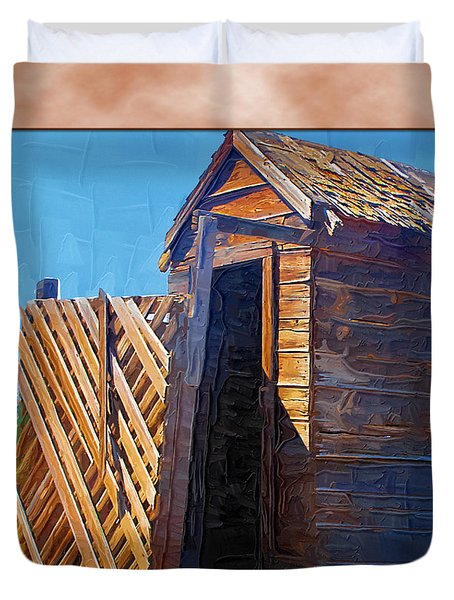 Duvet Cover featuring the photograph Outhouse 2 by Susan Kinney