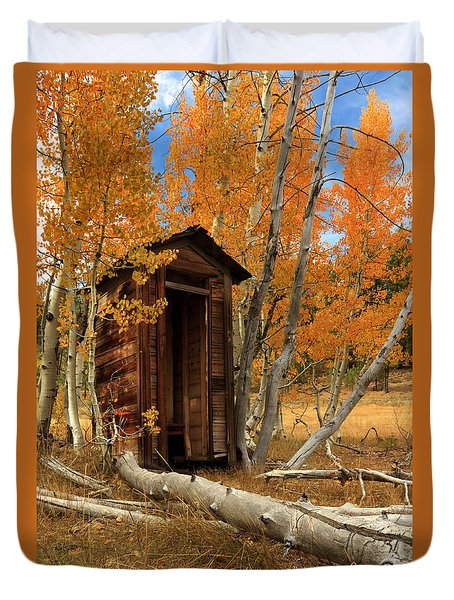 Outhouse In The Aspens Duvet Cover
