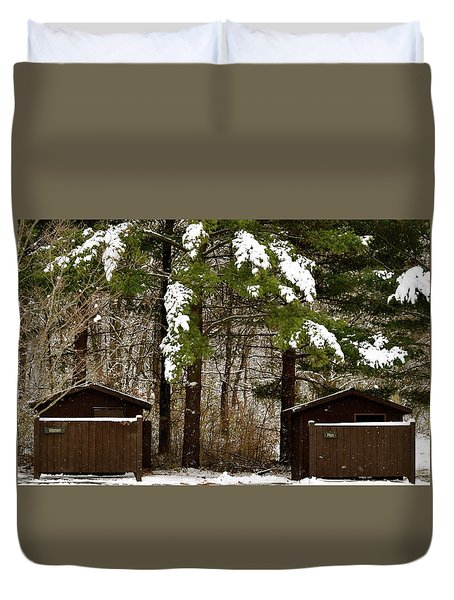Outhouses In The Cold Duvet Cover
