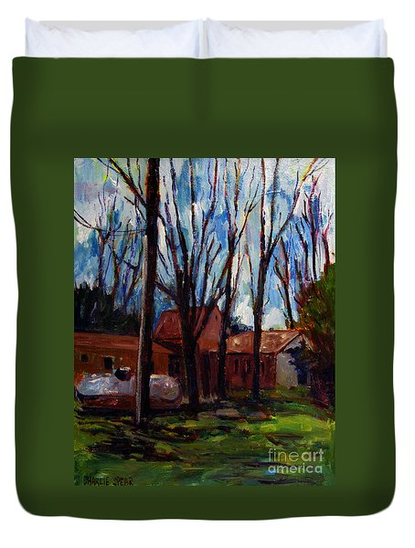 Duvet Cover featuring the painting Outland Retreat by Charlie Spear