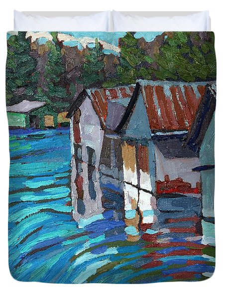 Outlet Row Of Boat Houses Duvet Cover
