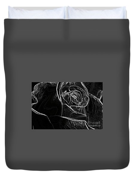 Duvet Cover featuring the photograph Outline Of A Rose by Micah May