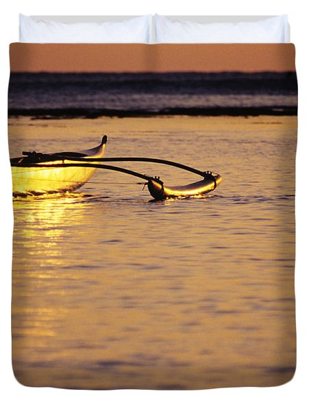 Outrigger And Sunset Duvet Cover by Joss - Printscapes