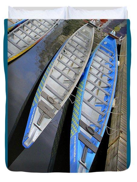 Outrigger Canoe Boats Duvet Cover by Ben and Raisa Gertsberg