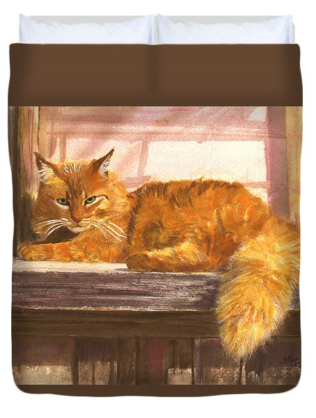 Outside Orange Tabby Duvet Cover by Mary Jo Zorad
