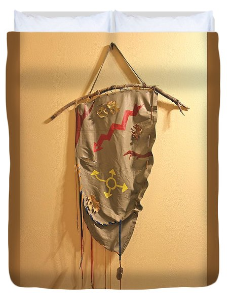 Duvet Cover featuring the mixed media Outsider Leather Hanging I by Michele Myers