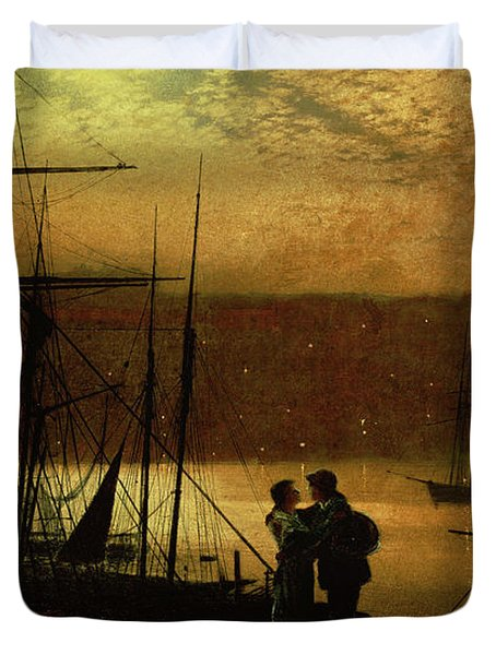 Outward Bound  A View Of Whitby, 1887 Duvet Cover