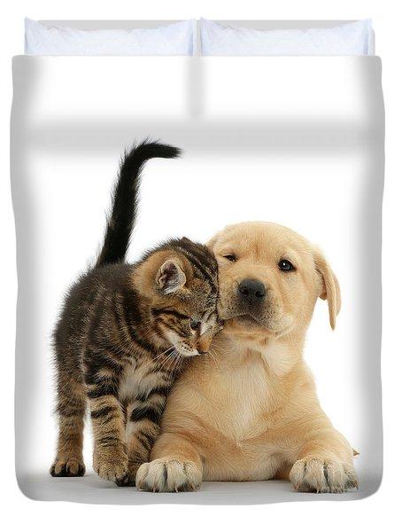Over Friendly Kitten Duvet Cover