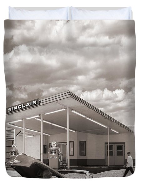 Over Heating At The Sinclair Station Sepia Duvet Cover