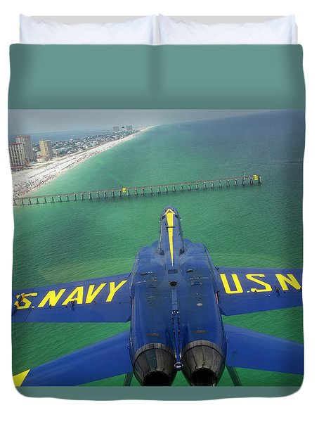 Over Pensacola Beach Duvet Cover by Specialist 3rd Class Andrew Johnson