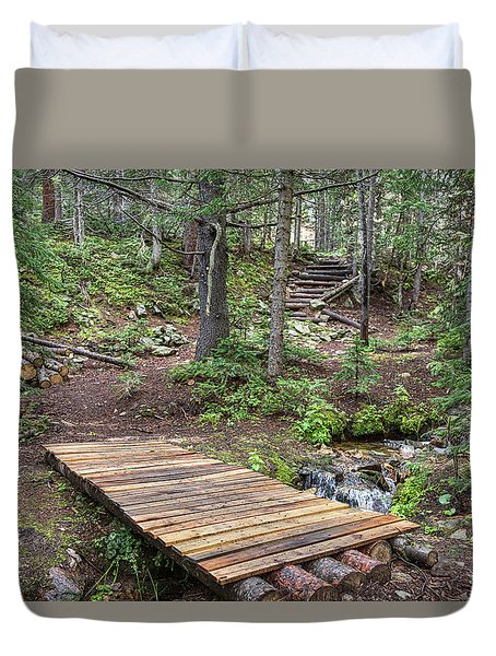 Duvet Cover featuring the photograph Over The Bridge And Through The Woods by James BO Insogna