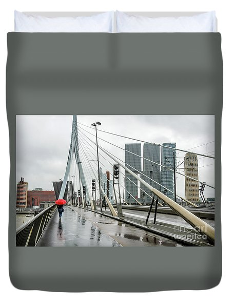 Duvet Cover featuring the photograph Over The Erasmus Bridge In Rotterdam With Red Umbrella by RicardMN Photography