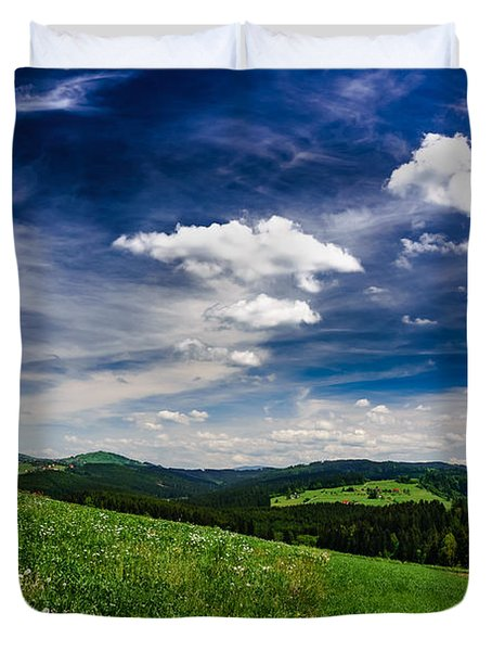 Duvet Cover featuring the photograph Over The Green Hills by Dmytro Korol