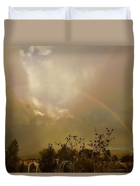 Over The Rainbow Garden Duvet Cover