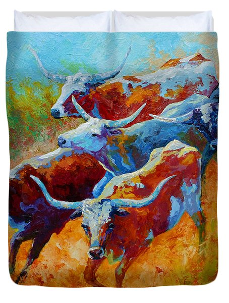 Over The Ridge - Longhorns Duvet Cover