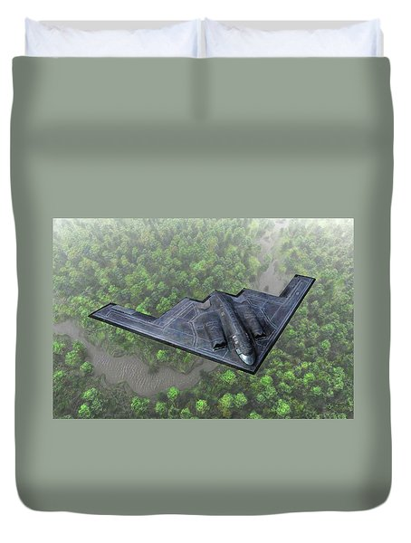 Over The River And Through The Woods In A Stealth Bomber Duvet Cover