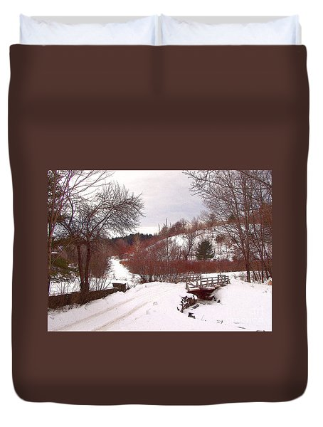 Over The River Duvet Cover by Betsy Zimmerli