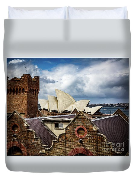 Duvet Cover featuring the photograph Over The Roof Tops by Perry Webster