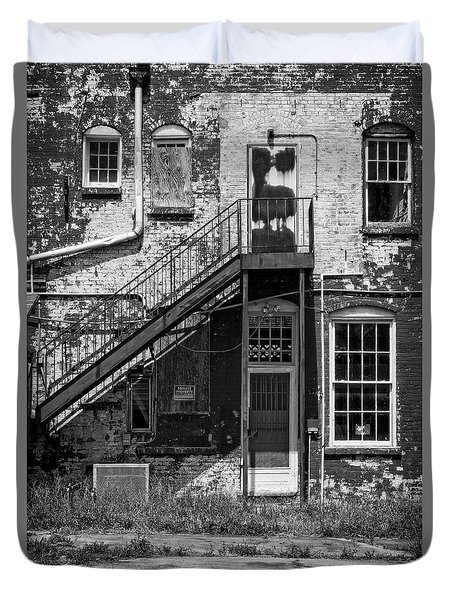 Duvet Cover featuring the photograph Over Under The Stairs - Bw by Christopher Holmes