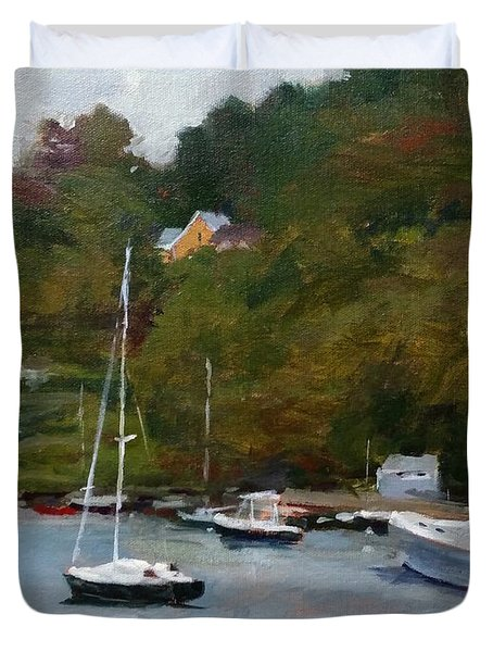 Overcast Day At Rockport Harbor Duvet Cover by Peter Salwen