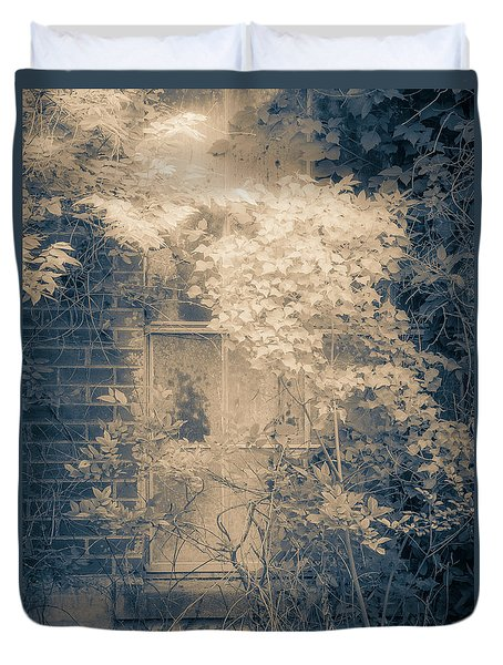 Overgrowth On Abandoned Pumping Station Duvet Cover