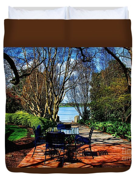 Overlook Cafe Duvet Cover by Diana Mary Sharpton
