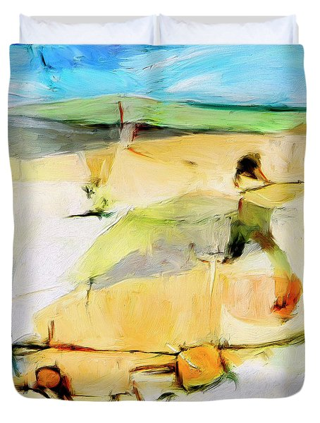 Duvet Cover featuring the painting Overlook by Dominic Piperata