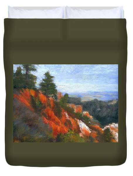 Duvet Cover featuring the painting Overlook by Gail Kirtz