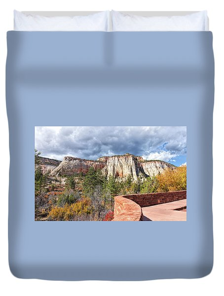 Duvet Cover featuring the photograph Overlook In Zion National Park Upper Plateau by John M Bailey