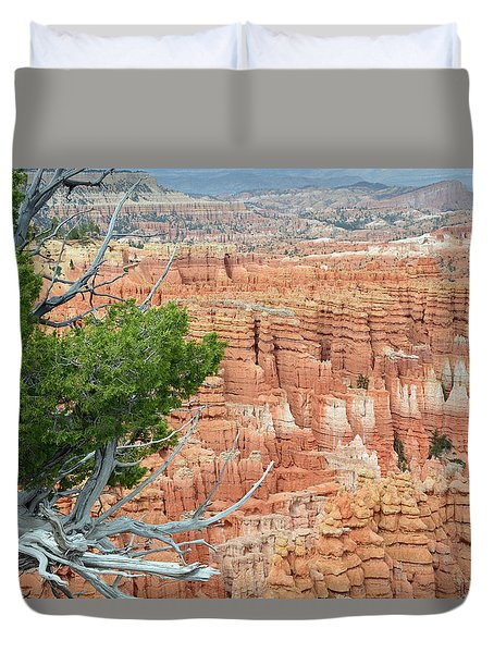 Duvet Cover featuring the photograph Overlooking Bryce Canyon by Bruce Gourley